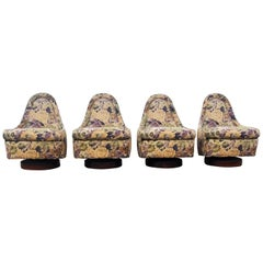 Set of Four Milo Baughman Petite Swivel and Tilt Lounge Chairs