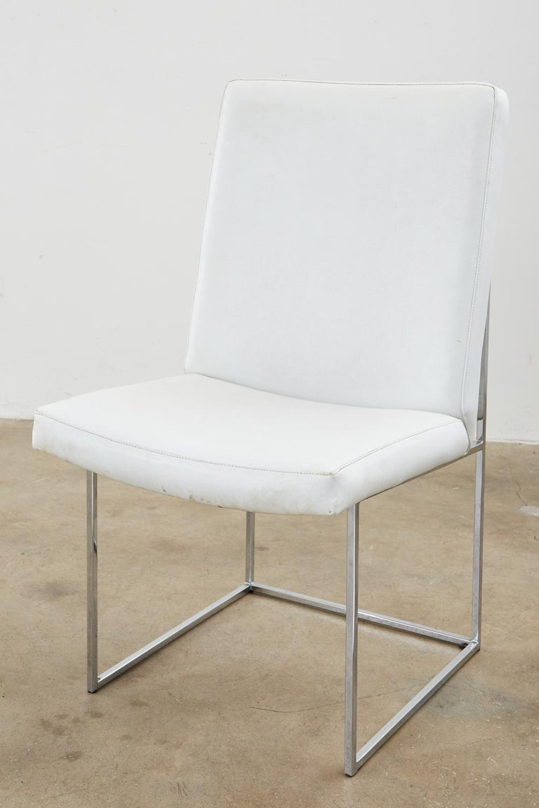 Set of Four Milo Baughman Thin Line Chrome Dining Chairs For Sale 5