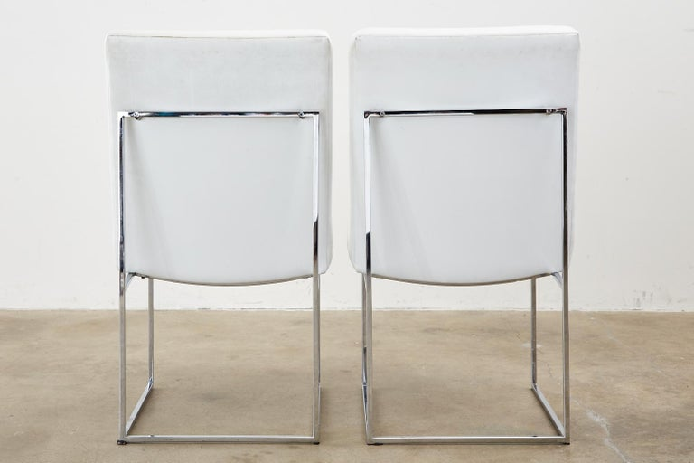 Set of Four Milo Baughman Thin Line Chrome Dining Chairs For Sale 13