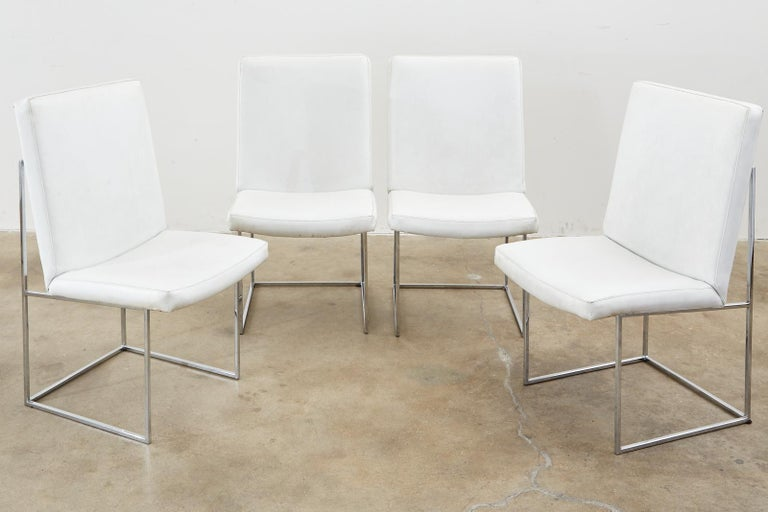 Mid-Century Modern Set of Four Milo Baughman Thin Line Chrome Dining Chairs For Sale