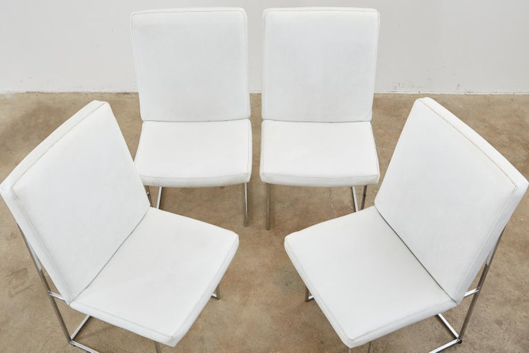 American Set of Four Milo Baughman Thin Line Chrome Dining Chairs For Sale