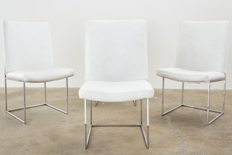 Set of Four Milo Baughman Thin Line Chrome Dining Chairs In Good Condition For Sale In Rio Vista, CA