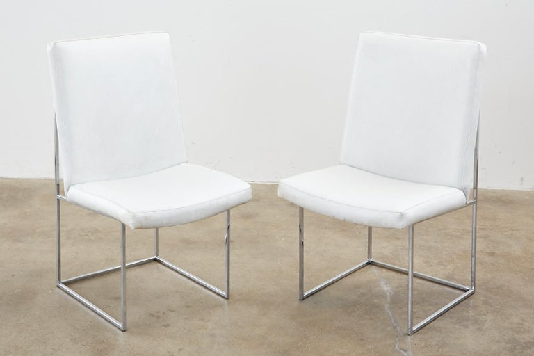 20th Century Set of Four Milo Baughman Thin Line Chrome Dining Chairs For Sale