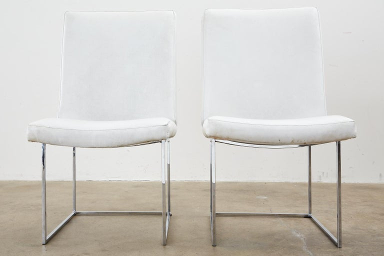 Steel Set of Four Milo Baughman Thin Line Chrome Dining Chairs For Sale