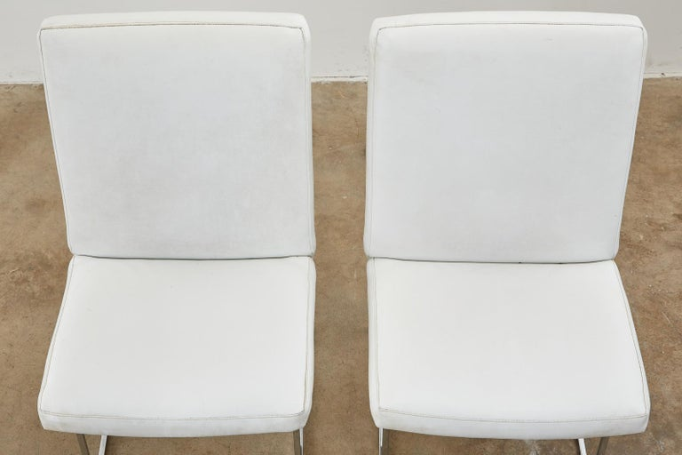 Set of Four Milo Baughman Thin Line Chrome Dining Chairs For Sale 1