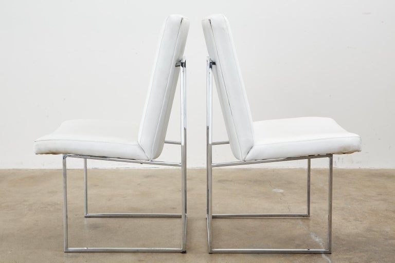 Set of Four Milo Baughman Thin Line Chrome Dining Chairs For Sale 2