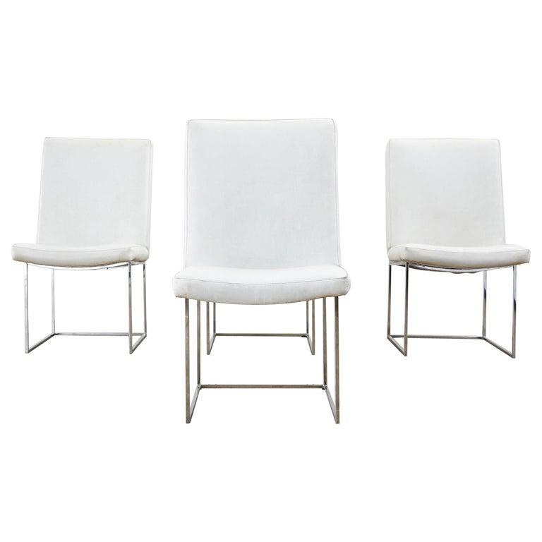 Set of Four Milo Baughman Thin Line Chrome Dining Chairs For Sale