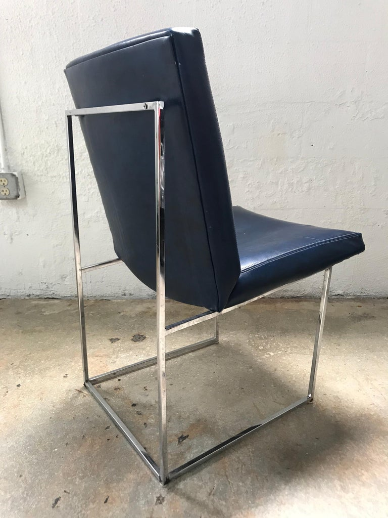 Plated Set of four Milo Baughman Thin-Line Dining Chairs For Sale