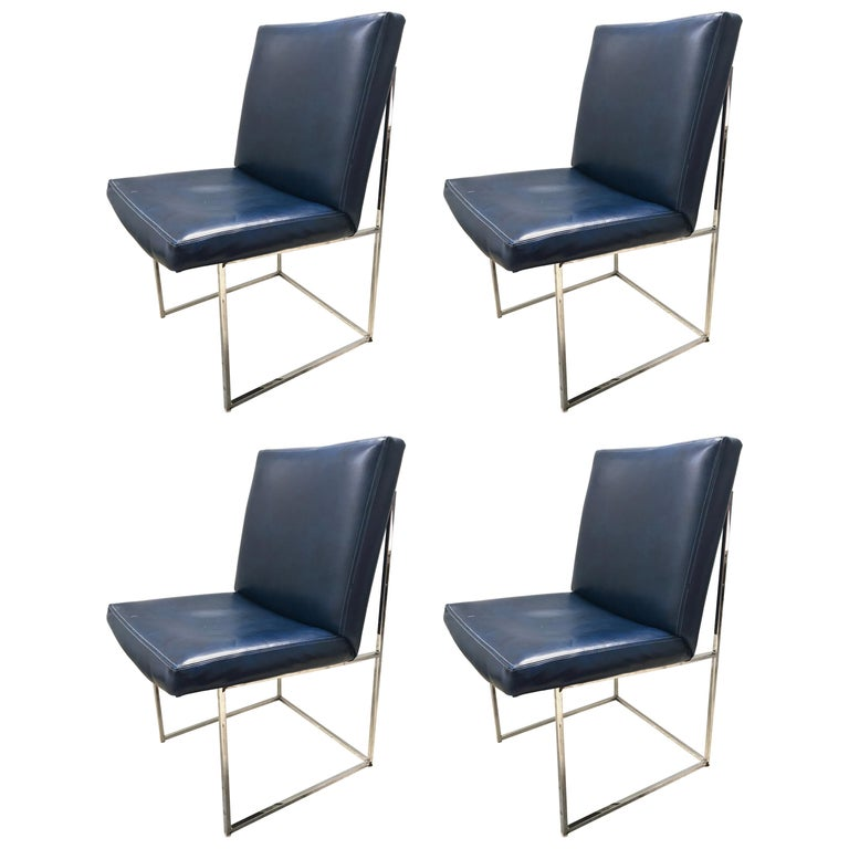 Set of four Milo Baughman Thin-Line Dining Chairs For Sale