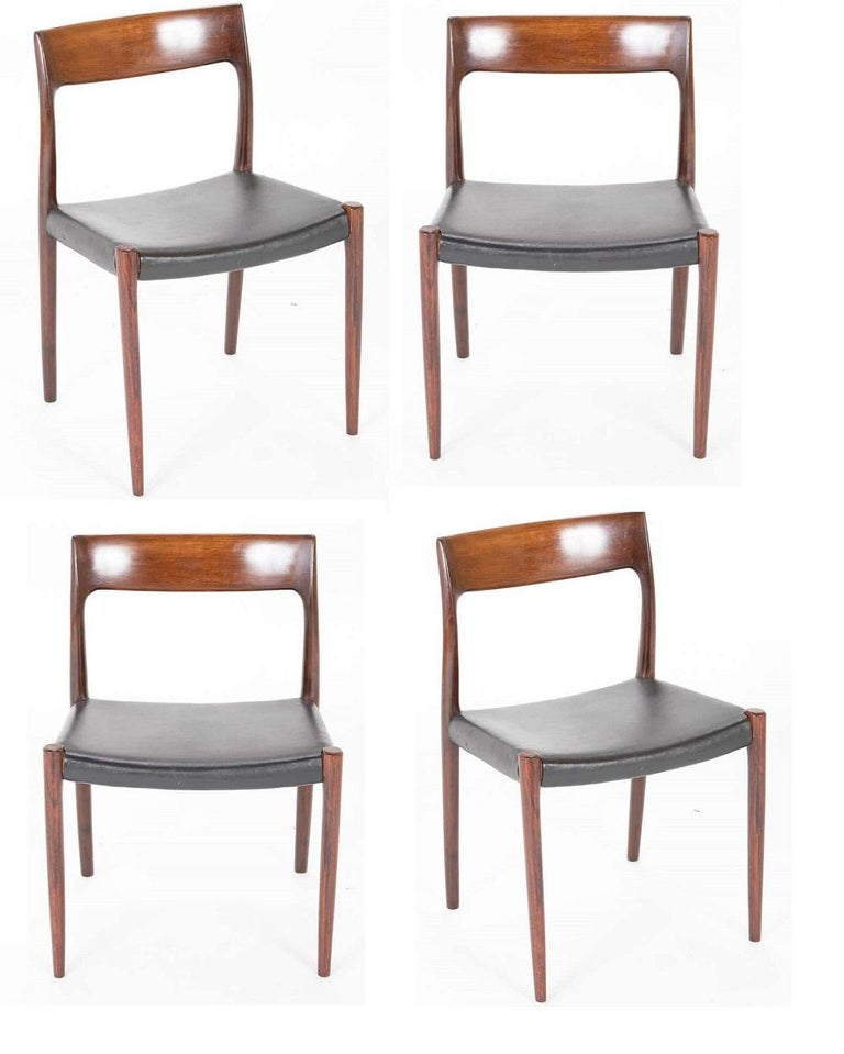 Niels Moller designed model 77 rosewood dining chairs. A set of 4 designed in 1959 produced in the 1960s.