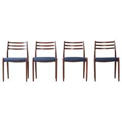 Set of Four Model 78 Chairs by Niels O. Møller 'Moller', Denmark, 1960s