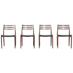 Set of Four Model 78 Rosewood Chairs by Niels O. Møller (Moller), Denmark, 1960s
