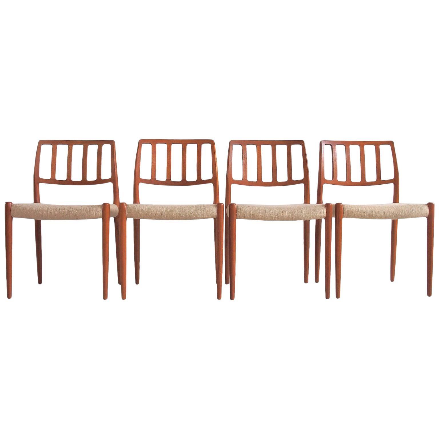 Set of Four Model 83 Niels Otto Møller Teak Chairs