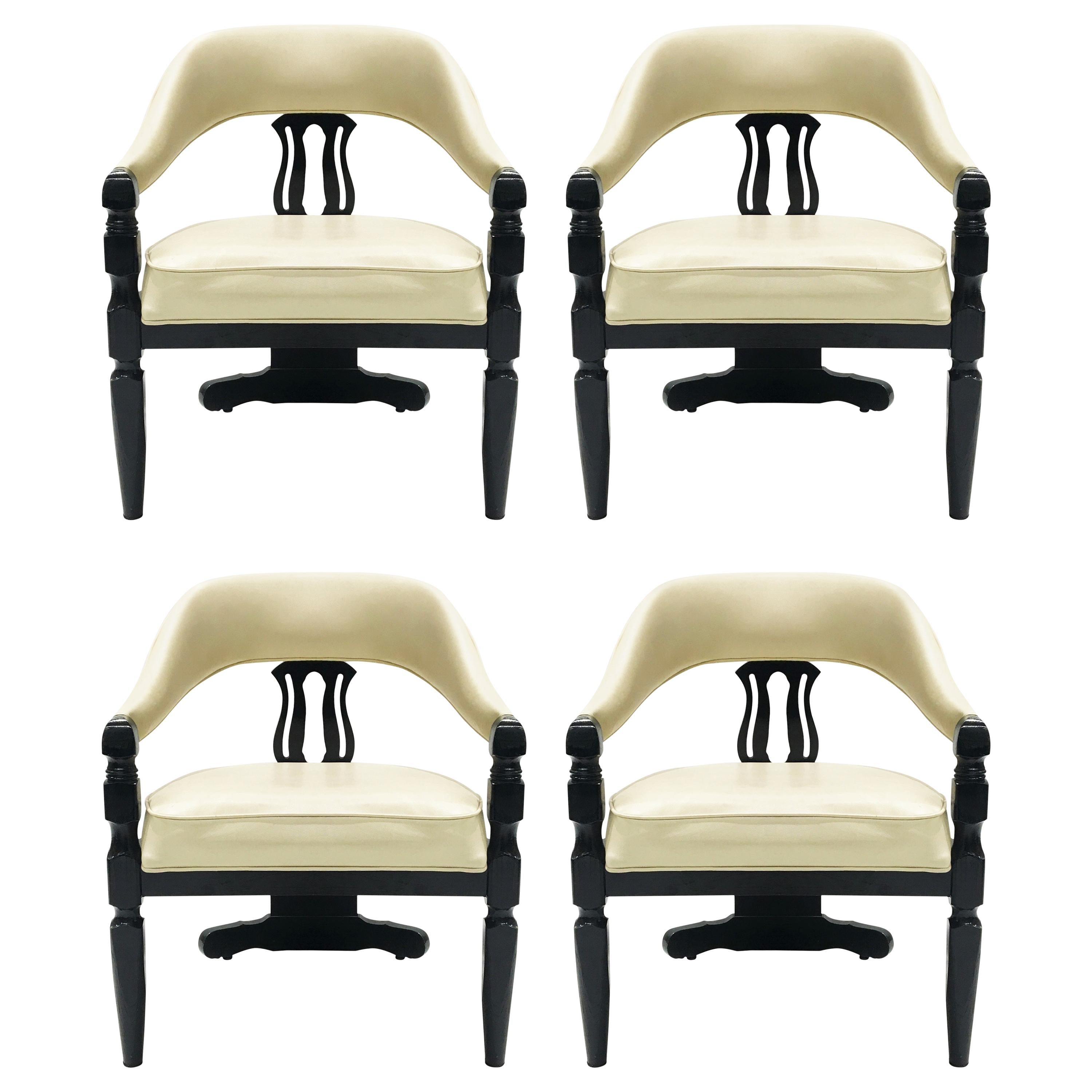 Set of Four Modern Asian-Inspired Dining Chairs