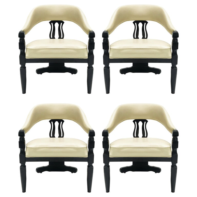 Set Of Four Modern Asian Inspired Dining Chairs For Sale At 1stdibs