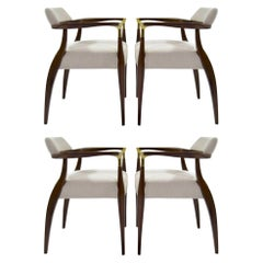 Set of Four Modern Brass-Accented Walnut Armchairs, 1950S