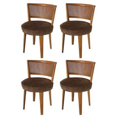 Set of Four Modern Cane Back Swivel Dining Chairs by Edward Wormley for Dunbar