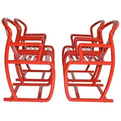 Set of Four Modern Dining Chairs in Red Lacquer, Italy, 1980s
