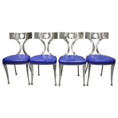 Set of Four Modern Shaver Howard Brushed Steel Metal Modernist Dining Chairs