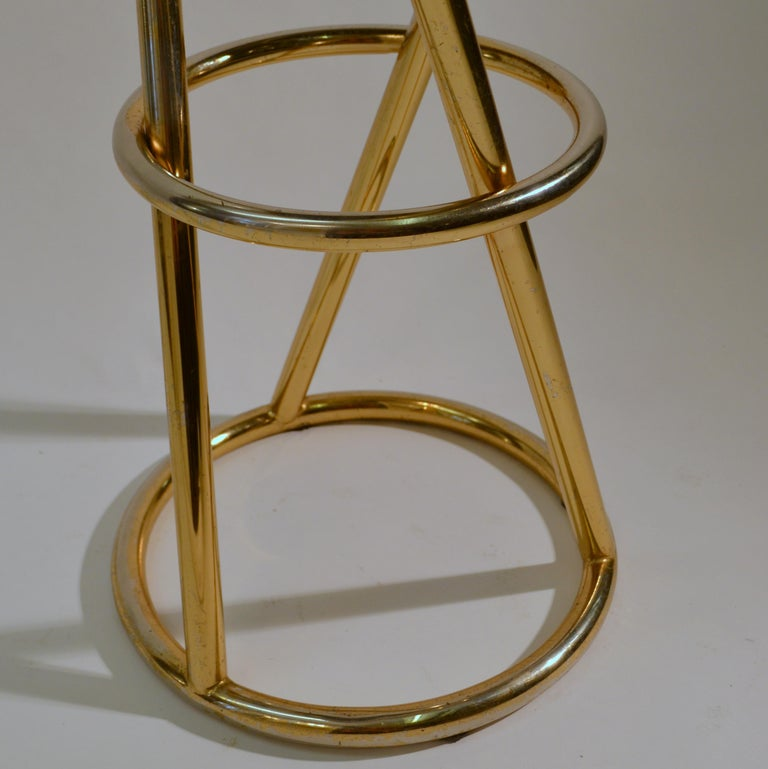 Set of Four Modernist Bar Stools in Tubular Brass by Pierre Chareau France For Sale 3