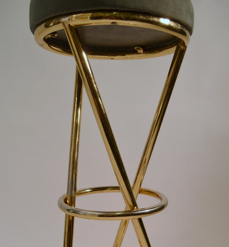 Set of Four Modernist Bar Stools in Tubular Brass by Pierre Chareau France For Sale 4