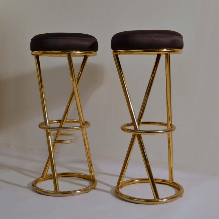 French Set of Four Modernist Bar Stools in Tubular Brass by Pierre Chareau France For Sale