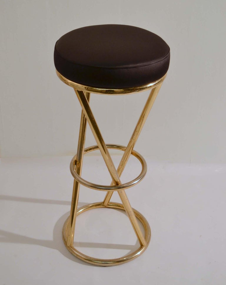 Plated Set of Four Modernist Bar Stools in Tubular Brass by Pierre Chareau France For Sale