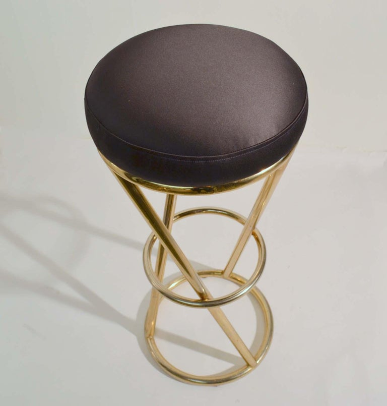 Late 20th Century Set of Four Modernist Bar Stools in Tubular Brass by Pierre Chareau France For Sale
