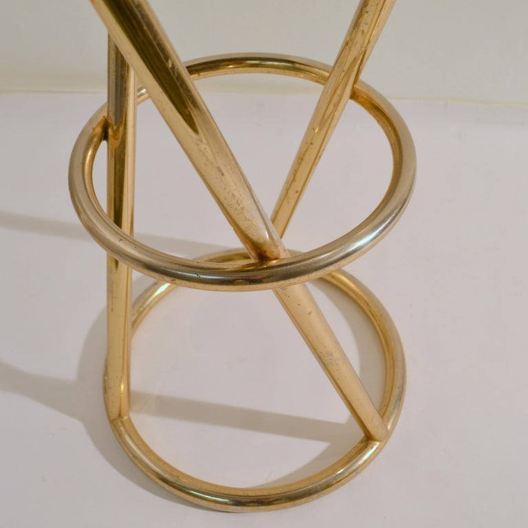 Set of Four Modernist Bar Stools in Tubular Brass by Pierre Chareau France For Sale 1