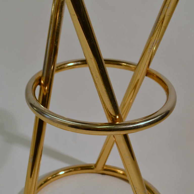 Set of Four Modernist Bar Stools in Tubular Brass by Pierre Chareau France For Sale 2