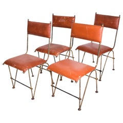 Set of Four Modernist Dining Chairs Attributed to Jean Michel Frank