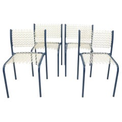Set of Four Modernist Indoor/Outdoor Chairs with Mesh Seats and Backs