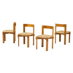Set of Four Modernist Italian Oak and Straw Chairs