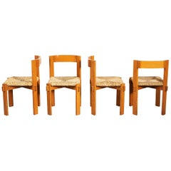 Set of Four Modernist Italian Oakwood and Straw Chairs, 1950s