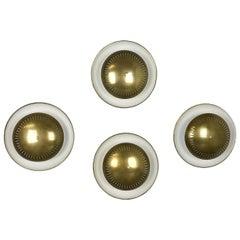 Set of Four Modernist Sarfatti Style Brass Metal Sconces Wall Light, Italy 1950s