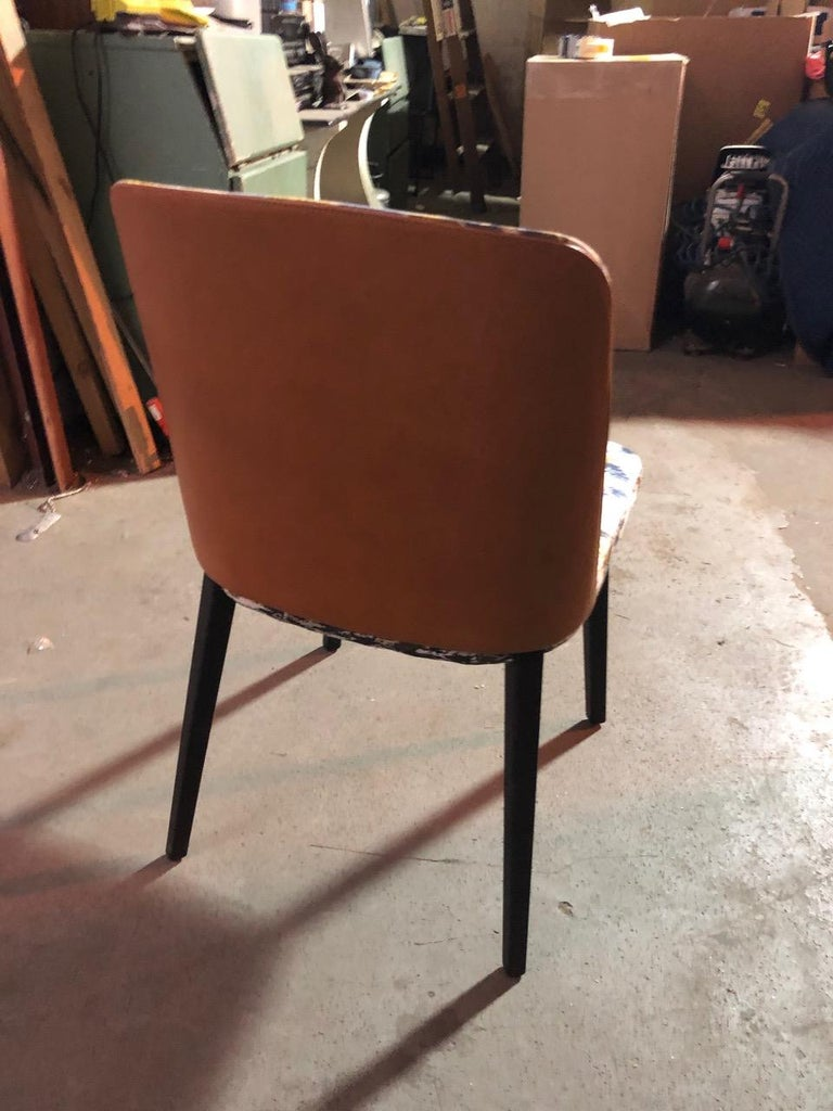 Leather Set of Four Montis Back Me Up Chairs For Sale