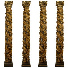 Set of Four Monumental Italian Rococo Gilt Carved Columns