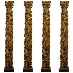 Set of Four Monumental Italian Rococo Gilt Carved Columns