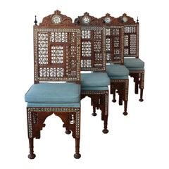 Set of Four Moorish Inlaid Chairs, 1950s