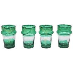 Set of Four Moroccan Green and Gold Moorish Tea Glasses