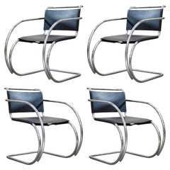 Set of Four MR20 Armchairs by Mies van der Rohe for Knoll, Signed