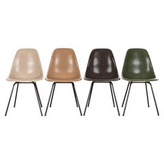 Set of Four Multicolored Eames DSX Dining Chairs for Herman Miller