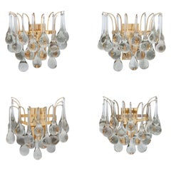 Set of Four Murano Glass Teardrop Wall Sconces, by Palwa, Germany, 1960s