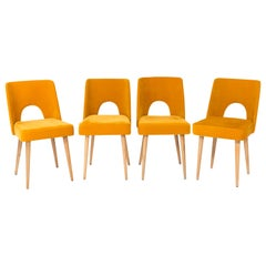 Set of Four Mustard Yellow Velvet 'Shell' Chairs, 1960s