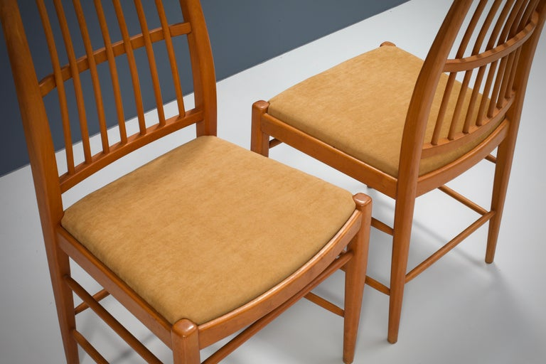 Fabric Set of four 'Napoli' Dining Room Chairs  by David Rosén for NK, Sweden, 1953 For Sale