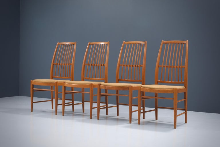Set of four 'Napoli' dining room chairs by David Rosén for Nordiska Kompaniet, Sweden, 1950s. This newly upholstered set of chairs could be a real enrichment for your diningroom. The perfect combination between a frame from the past and the crisp