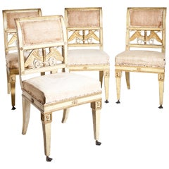 Set of Four Neoclassical Chairs, Lucca, circa 1800