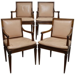 Set of Four Neoclassical Style Armchairs, Italian, Late 19th-Early 20th Century