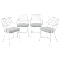 Set of Four Neoclassical Style Iron Garden Dining Chairs