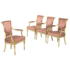 Set of Four Neoclassical White-Painted French Accent Armchairs, 19th Century